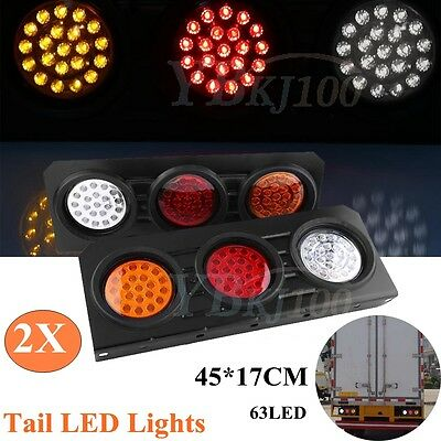 2 X 12V 63 Led Tail Lights Truck Ute Trailer Stop Indicator Pair Waterproof Zz