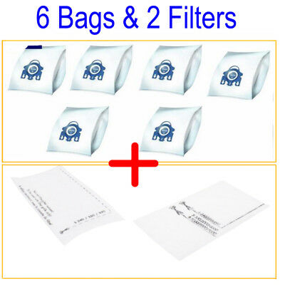 6 Bags + 2 Filter Fits Miele GN Hyclean 3D C2 C3 S2 S5 S8 S5210 S8310 Cat & Dog