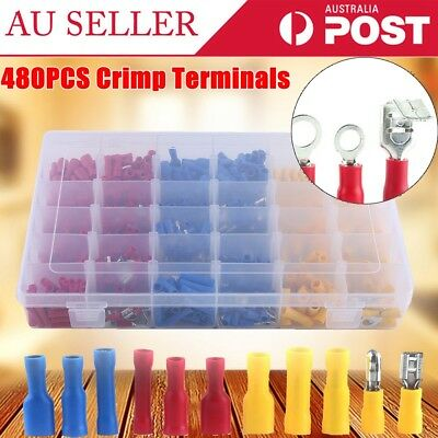 480PCS Assorted Heat Shrink Insulated Wire Assortment Crimp Terminals Connectors