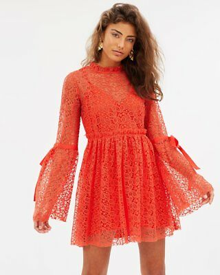 43f7b2d55d Alice McCall BACK TO YOU Lace Mini DRESS Red babydoll style cocktail NEW