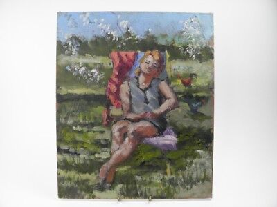 British Impressionist oil painting by Roy Pettitt portrait of a young lady #42