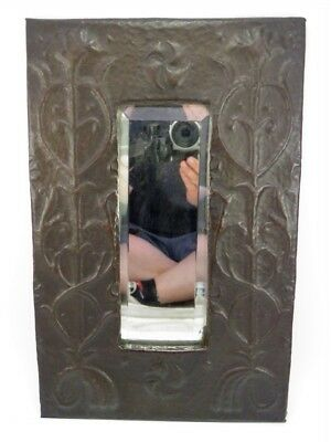 Early 20th century Arts & Crafts copper hall mirror embossed decoration