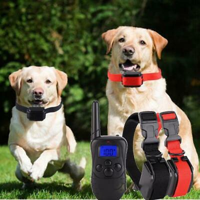 Waterproof 1000 Yard 2 Dog Shock Training Collar Pet Trainer With Remote B98B