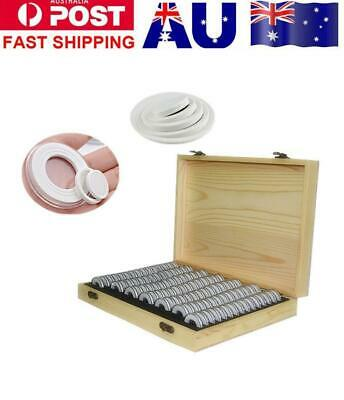 Wooden Coins Storage Container Collection Box Case + 100 Round Capsules Holder
