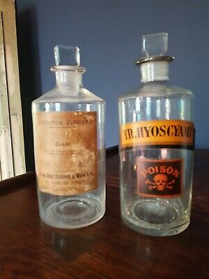Lovely Antique Pair Of Glass Apothecary Jar Bottles Poison Label Chemist