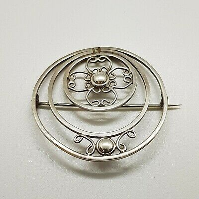Antique Arts & Crafts Edwardian Sterling Silver Brooch c1910