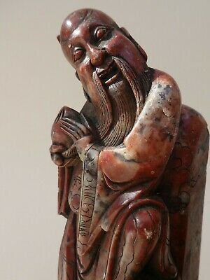 Pair Antique Chinese Hand Carved Red Soapstone Figures Shou Lao & Peach Qing Era