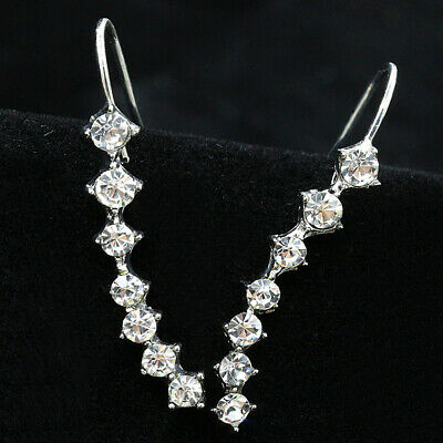 Gold Silver Large Statement Crystal Rhinestone Ear Climber Crawler Cuff Earrings