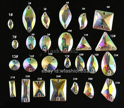 50p Glass Clear AB Oval/teardrop/round Sew on Rhinestone Crystal Dress Making pk