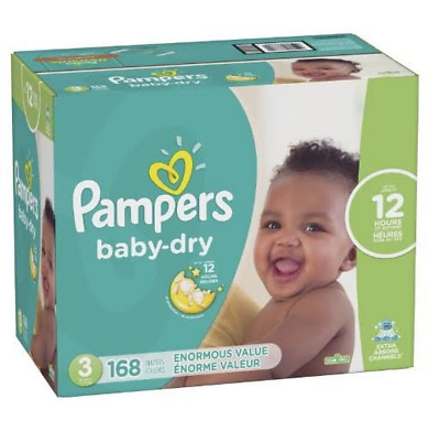 Pampers Baby Dry Disposable Diapers Enormous Pack  Size 3 (168 Count)