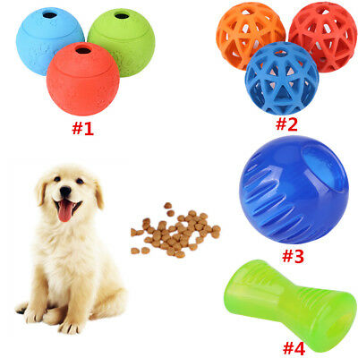 Pet Dog Bounces Treat Ball Food Dispenser Container Play Rubber Chew Toy 4Types