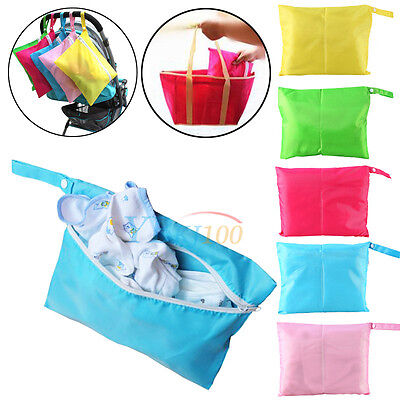 Waterproof Baby Kid Zipper Cloth Diaper Nappy Wet Dry Bag Pouch Tote Handbag New