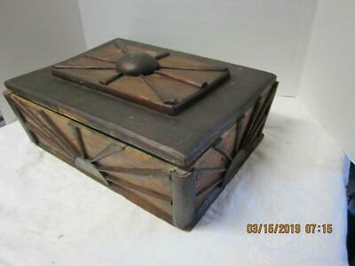 Antique Primitive Vintage Wood Cutlery Utensil Carrier Box Tray Farmhouse,