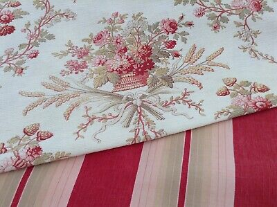 Antique/Vintage French Fabric Coordinates bundles for projects Floral Ticking