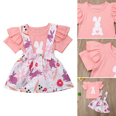 Easter Newborn Toddler Kids Baby Girl Bunny Top T-shirt Skirt Outfits Clothes AU