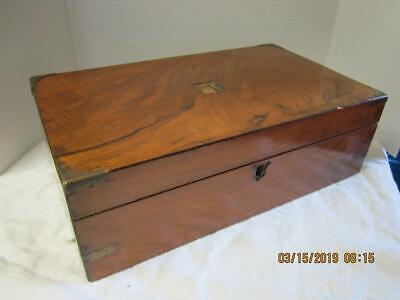 19thC Antique VICTORIAN Wood and Brass WRITING DESK Old LAP SECRETARY Box