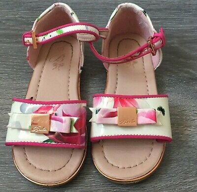 bb6355a41266 Ted Baker Girls Floral Sandals Pink White Patent Rose Gold Buckles Size 8