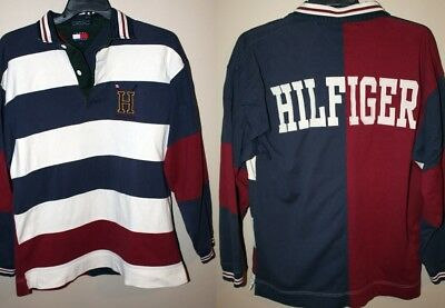 81735e5b RARE Vintage Tommy Hilfiger Rugby Style Polo Long Sleeve Size L Block Spell  Out