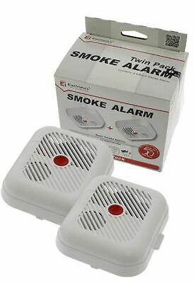 2x Ei KiteMarked Smoke Detectors Fire Alarm Ionisation Batteries Included