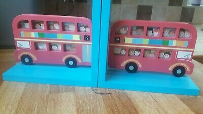 Childrens London Red Bus Blue Book Ends Insert Own Photos Bedroom Decor