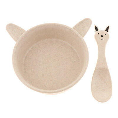 Soup Bowl Spoon Reusable Tableware Snack Container Children Cutlery Rabbit