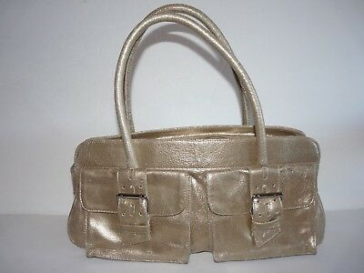 fbd52670e5 BOTKIER TRIGGER GOLD Metallic Leather Satchel Tote Shoulder Bag ...