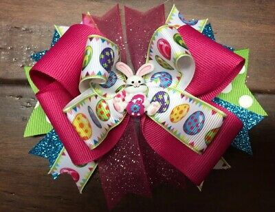 Easter Bunny Rabbit Stacked Boutique Hair Bow Toddler Girl Spring Easter Egg