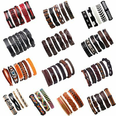 Charm Men Handmade Adjustable Genuine Leather Bracelet Bangle Wristband Set Gift
