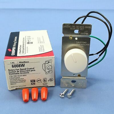 Cooper White Single Pole Rotary 3-Speed Ceiling Fan Control ON/OFF 1.5A 6008W