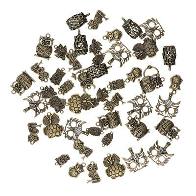 50pcs Antique Silver/Bronze Owl Charms Pendant Carfts DIY Jewelry Findings