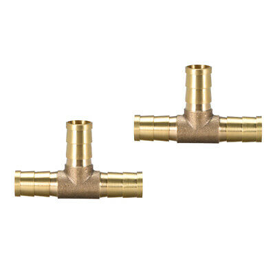 NJ 2pcs Air Fuel Water 3-Way Brass Tee T Fitting Hose Barb Connector X4Y1 2X