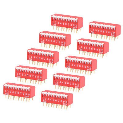 10Pcs Red DIP Switch Piano-Dip 1-10 Positions 2.54mm Pitch for Circuit  PCB