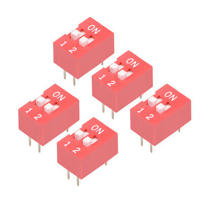 5 Pcs Red DIP Switch Horizontal 1-2 Positions 2.54mm Pitch for Circuit  PCB