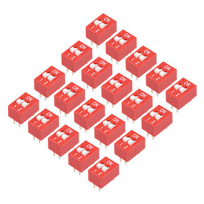 20 Pcs Red DIP Switch 1-2 Positions 2.54mm Pitch for Circuit Breadboards PCB
