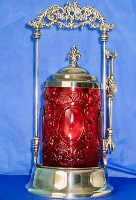 Antique Ruby Red Glass Silver Plated Pickle Castor Jar Set with Thongs
