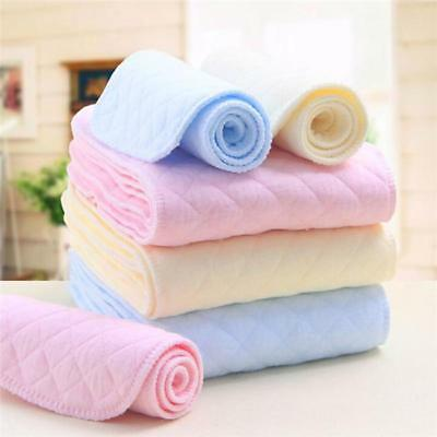 10 Pcs Reusable Baby Cotton Cloth Diaper Nappy Liners Insert 3 Layers Sets QK