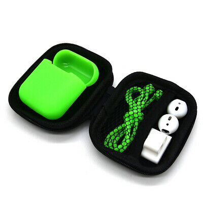 Portable Carrying Storage Silicone Case Box Strap + Earbuds For AirPods Access