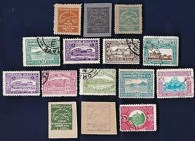 15  All Different CHARKHARI Stamps  (INDIAN STATE) (lot 2)