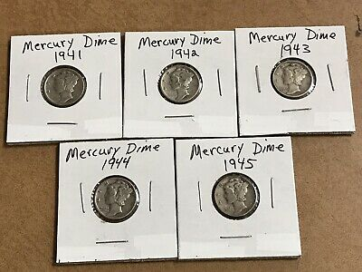 1940's Mercury Dimes Lot Of 5