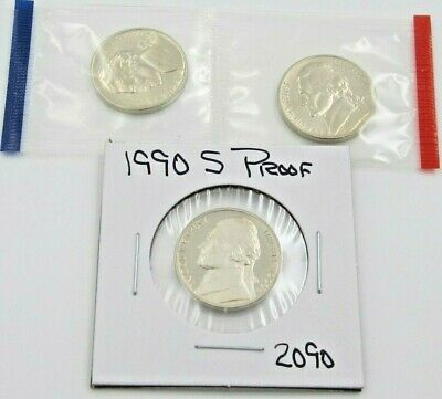 1990 P D & S Jefferson Nickel Set - PD Mint Cello / S Proof - 3 coins (2090)