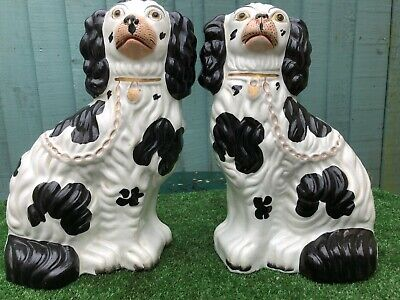 SUPERB PAIR of MID 19thC STAFFORDSHIRE SEATED BLACK &  WHITE SPANIEL DOGS c1850s