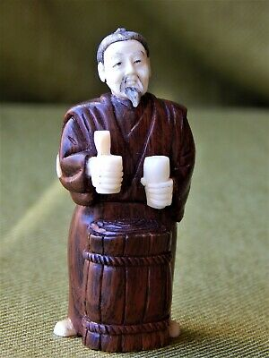 A Great Quality Antique Japanese Carved Wooden Netsuke. Signed