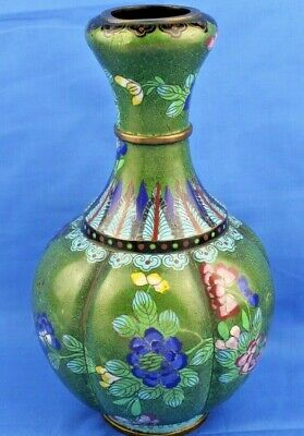 Antique Chinese CLOISONNE Double Gourd Garlic Mouth Vase - Signed Wu Character