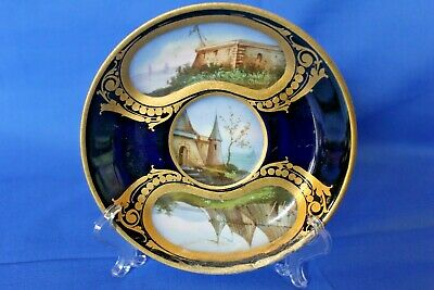 Small Antique Sevres Cabinet Plate - Stunning Hand Painted Fort / Castle French
