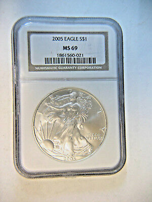 NGC 2005 Genuine 1 Oz  .999 Silver American Eagle NGC MS69 $1 Uncirculated