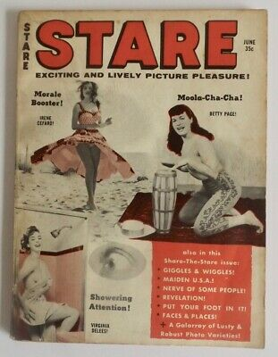 June 1959 Stare Digest Magazine Bettie Page Pin-Up Cover Humor Cartoons & Girls!