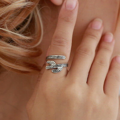 Hollow Cactus Tree Ring Band Cacti Wrap Rings Women Jewelry Gift QK