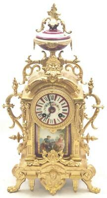 Antique Mantle Clock Beautiful French Gilt & Red Sevres Bell Striking