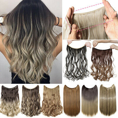 100% Natural Thick Wire No Clip in Hair Extensions Halo Hairpeices Half Head A3