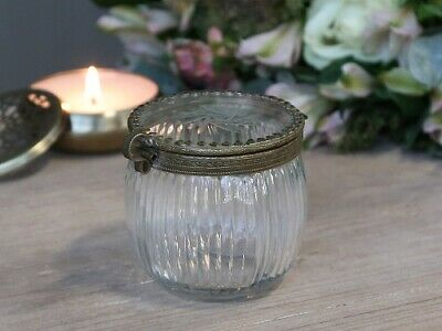 Chic Antique Glasdose Dose mit Verschluss Deckel Glas Messing Shabby Vintage